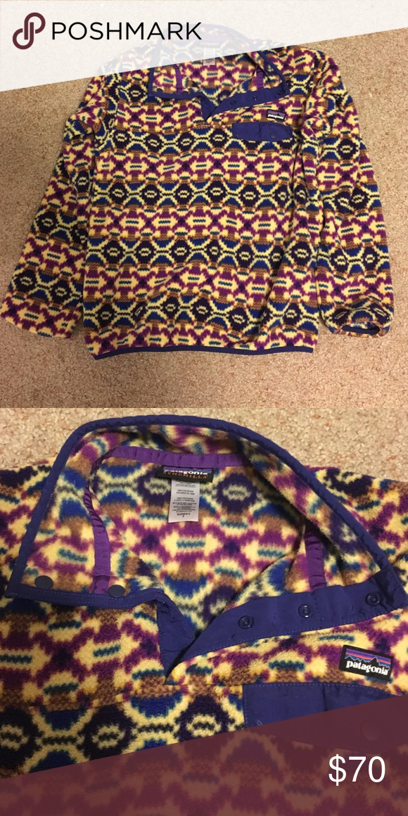 Fleece Patagonia pullover Perfect condition barely worn retro Patagonia. They don't make this one anymore and it's one of my favorites! I am down sizing so I need it to sell! Women's small the colors are blue and purple with the background color which is cream. Patagonia Jackets & Coats