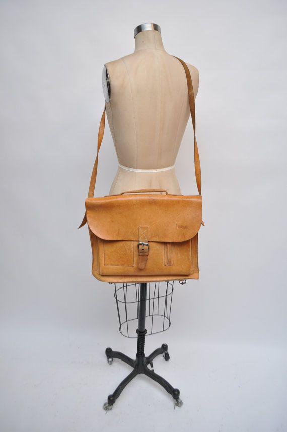 Vintage leather satchel bag handbag briefcase purse tote messenger bag laptop…