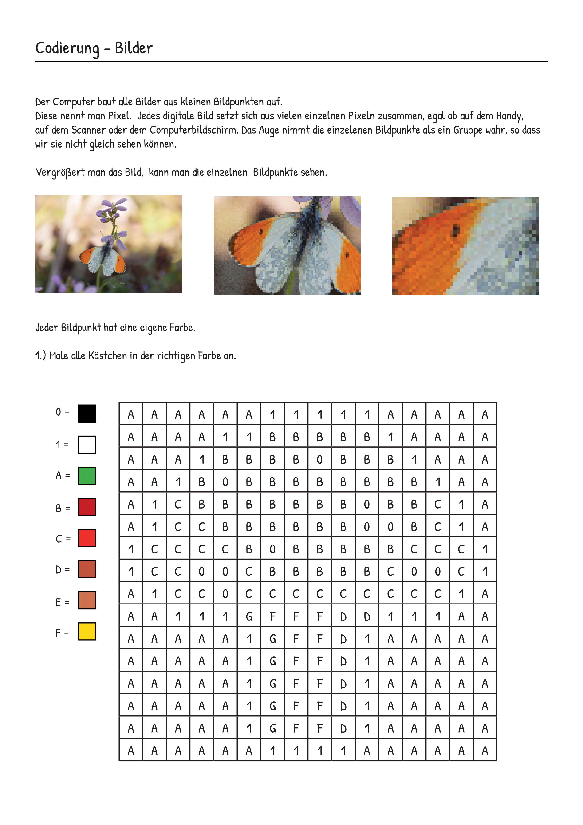 bilder pixel codierung unterrichtsmaterial im fach informatik itg der computer vektorgrafik adobe hund