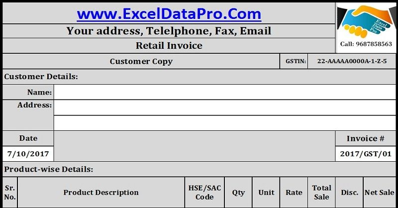 Download Gst Invoice Format For Retailers In Excel  Invoice
