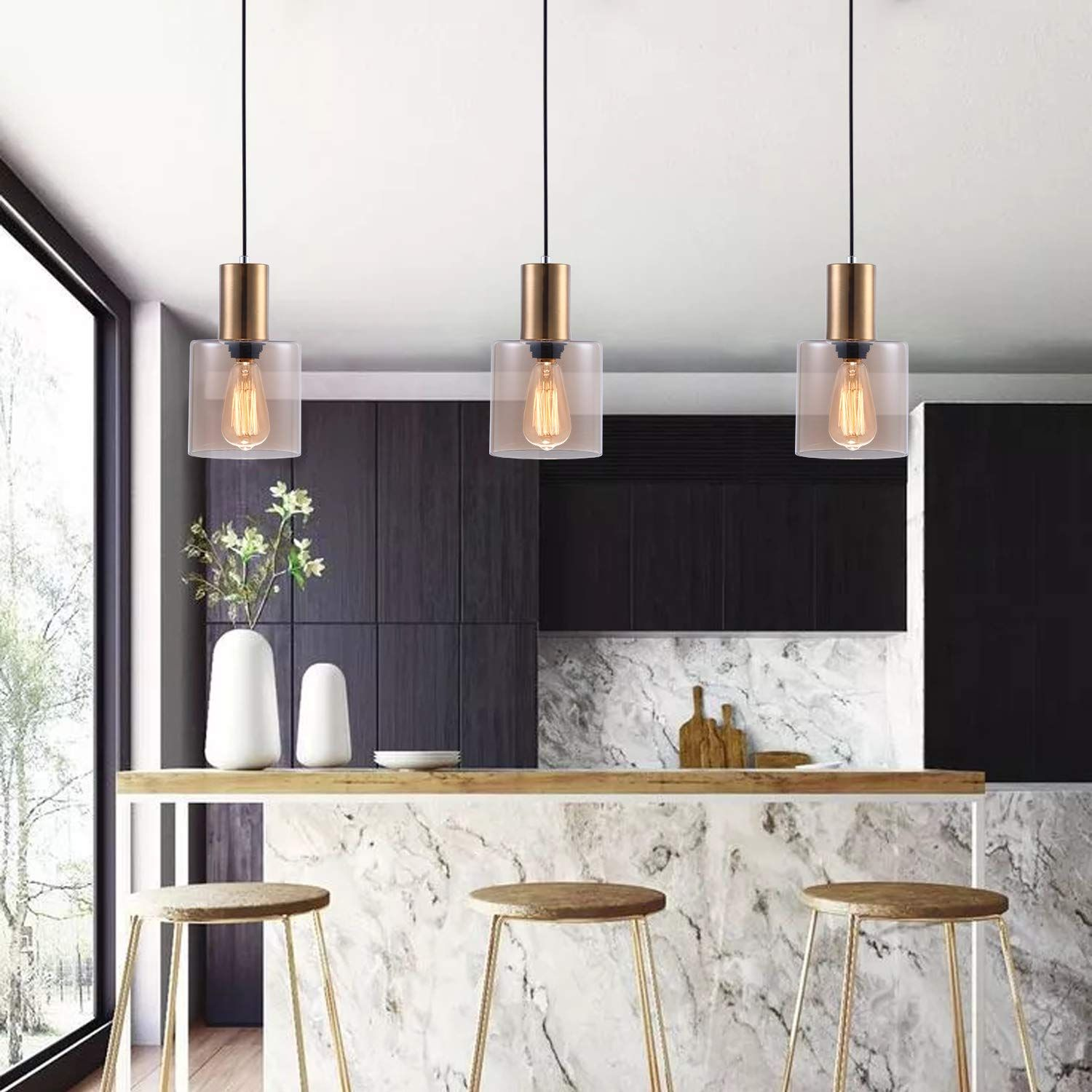 Modern Kitchen Pendant Light With Hand Blown Amber Cylindrical
