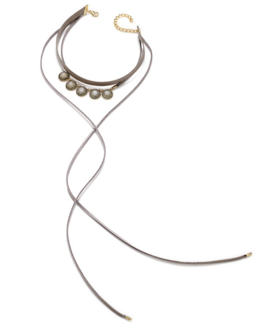 Inc International Concepts Gold-Tone Gray Stone Faux Suede Choker Necklace, Only at Macy's
