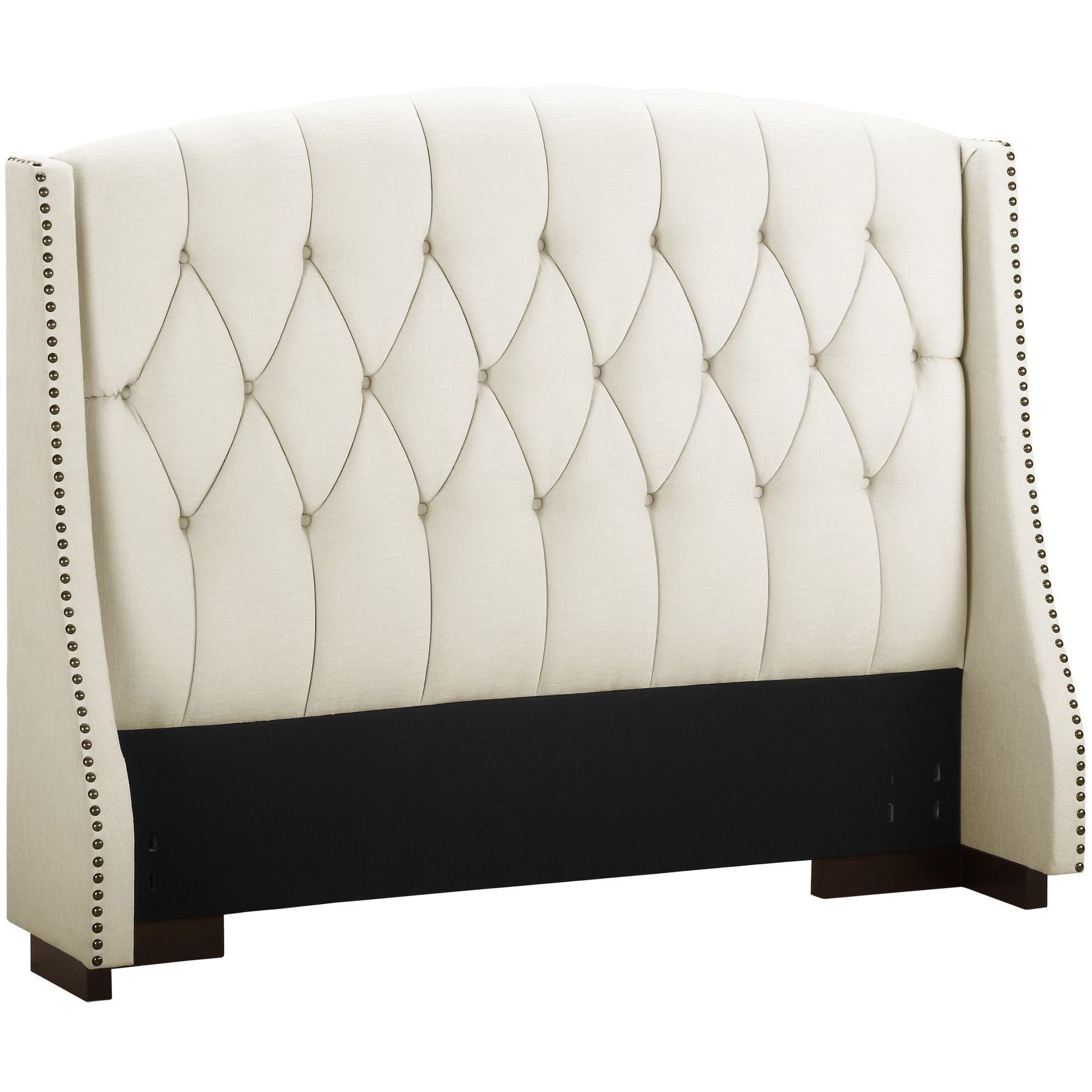 This Button Tufted Wingback Headboard with Nailheads features the ...