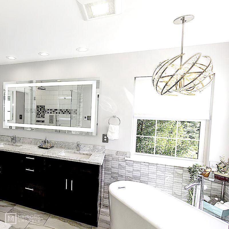 """FrontLighted LED Bathroom Vanity Mirror 72"""" Wide x 36"""