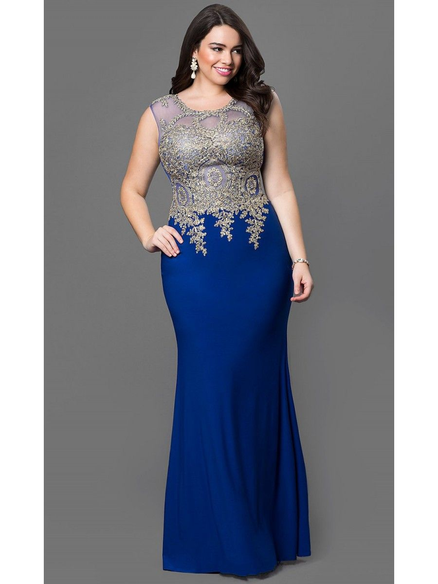 Elegant Illusion Neckline Gold Lace Long Blue Mermaid Plus ...