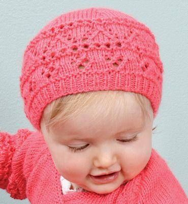 Modèle bonnet point fantaisie bébé , Modèles tricot layette , Phildar