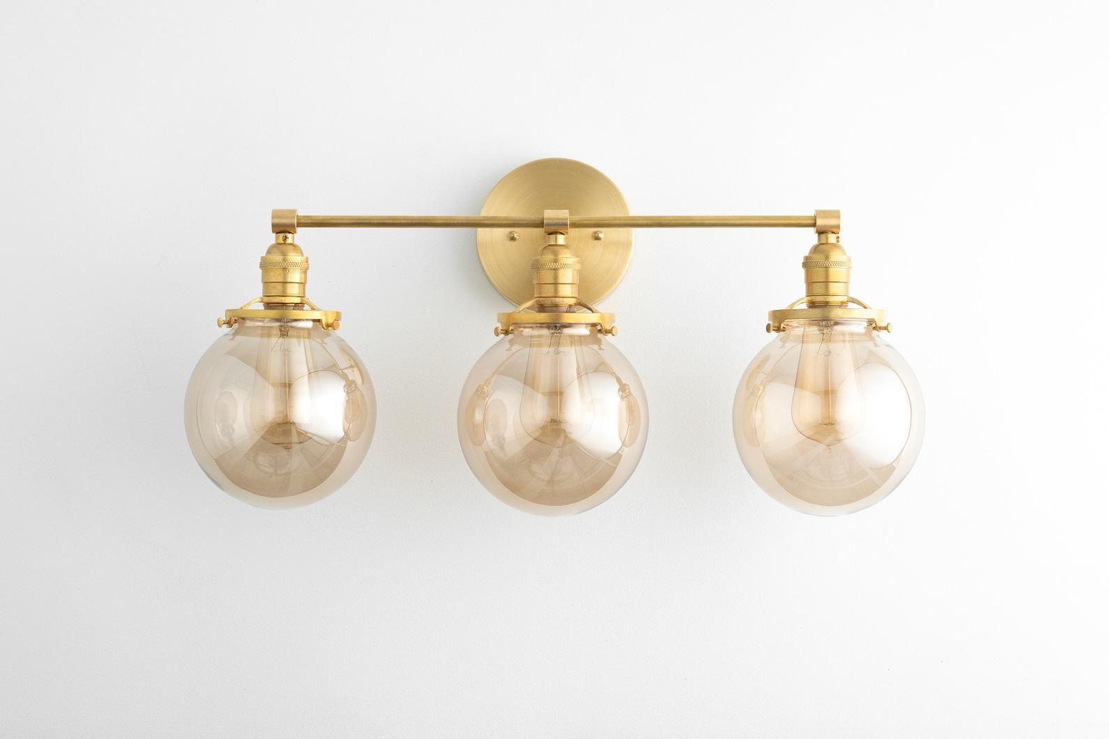 Vanity Lights Brass Vanity Lighting 3 Bulb Bathroom Lamps Etsy Bathroom Light Fixtures Brass Vanity Light Bathroom Lighting