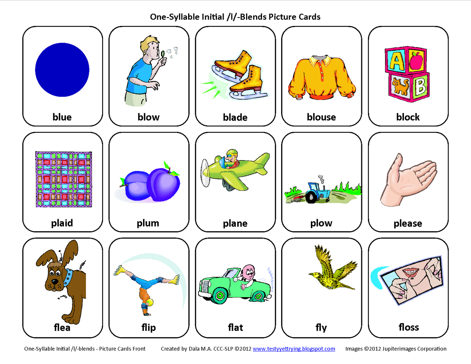 Testy Yet Trying L Blends Bl Pl Fl Free Speech Therapy Articulation Picture Cards