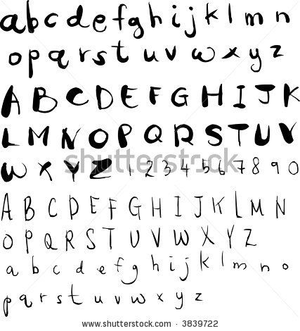 thse letters are all diffrent fonts to look hand drawn