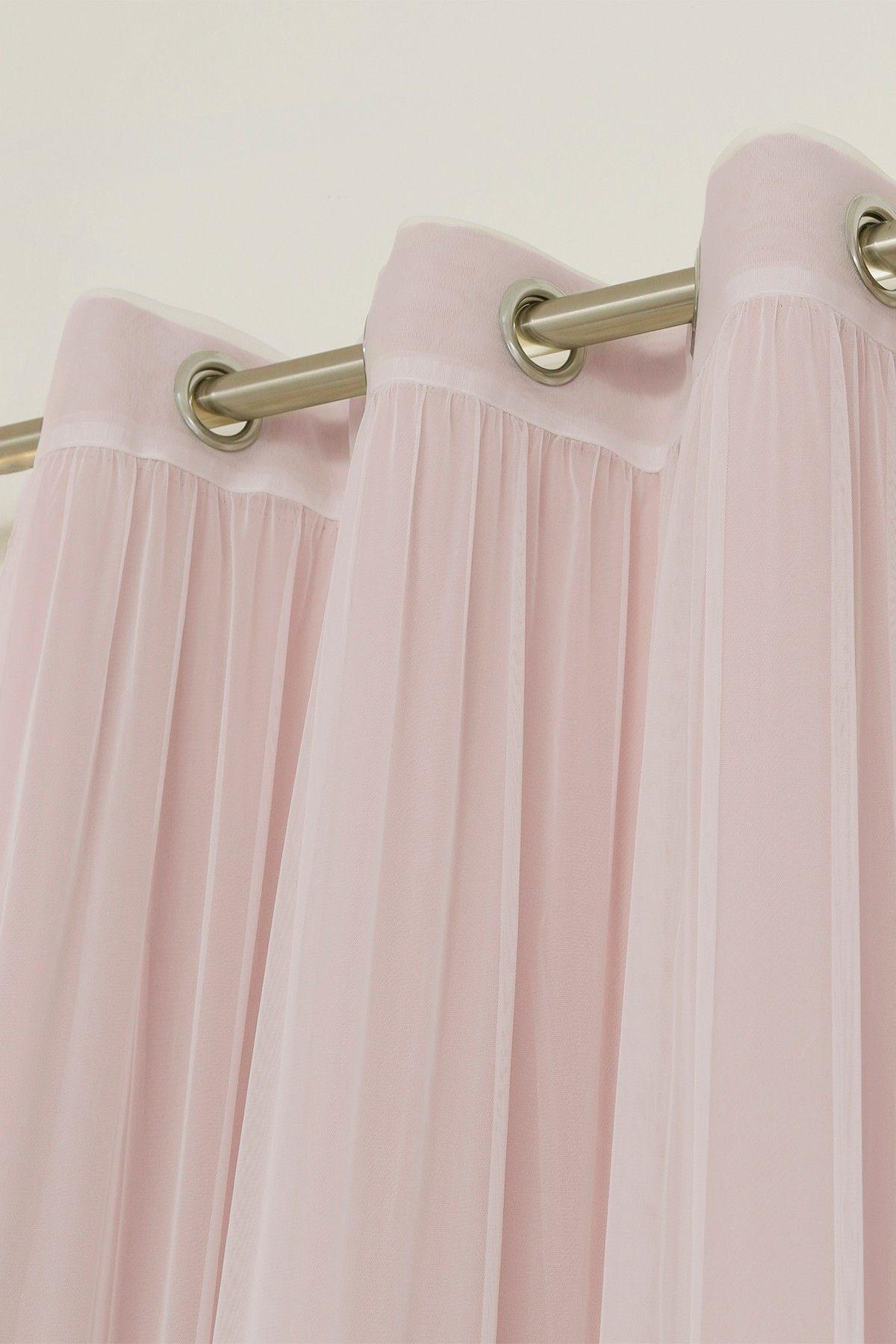 Inc faux silk blackout curtain set of 2 light pink hautelook - Mix Match Tulle Sheer Blackout 4 Piece Curtain Set Blush Pink By