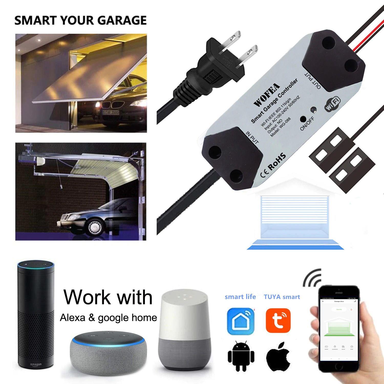 Wofea Wifi Switch Smart Garage Door Opener Controller Work With Alexa Echo Google Home Smartlife Tuya App Contr In 2020 Smart Garage Door Opener Smart Wifi App Control