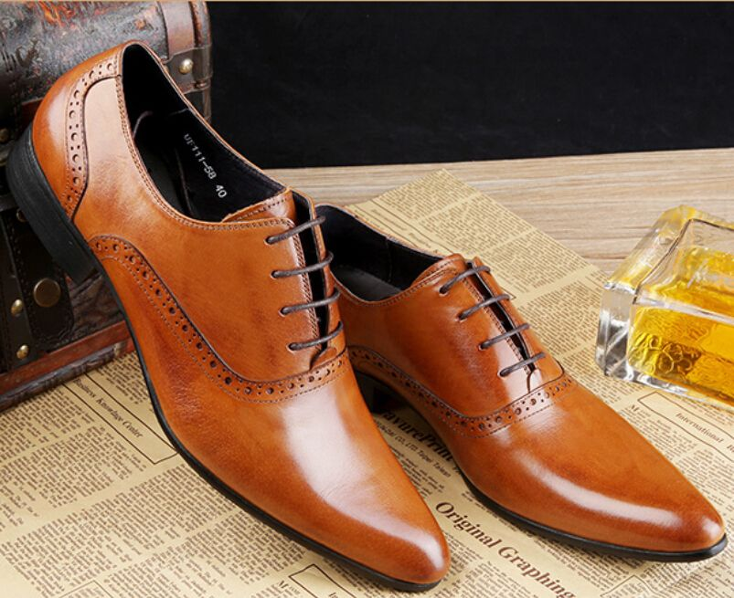 Shoes Mens Casual Leather Shoes Men's Low-Top Sneakers Formal Business Work Dress Shoes (Color : Brown Size : 38)
