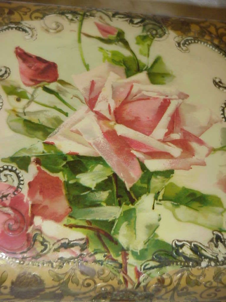 ANTIQUE VICTORIAN CELLULOID PINK ROSES ROSE C KLEIN UNSIGNED HANKY DRESSER BOX