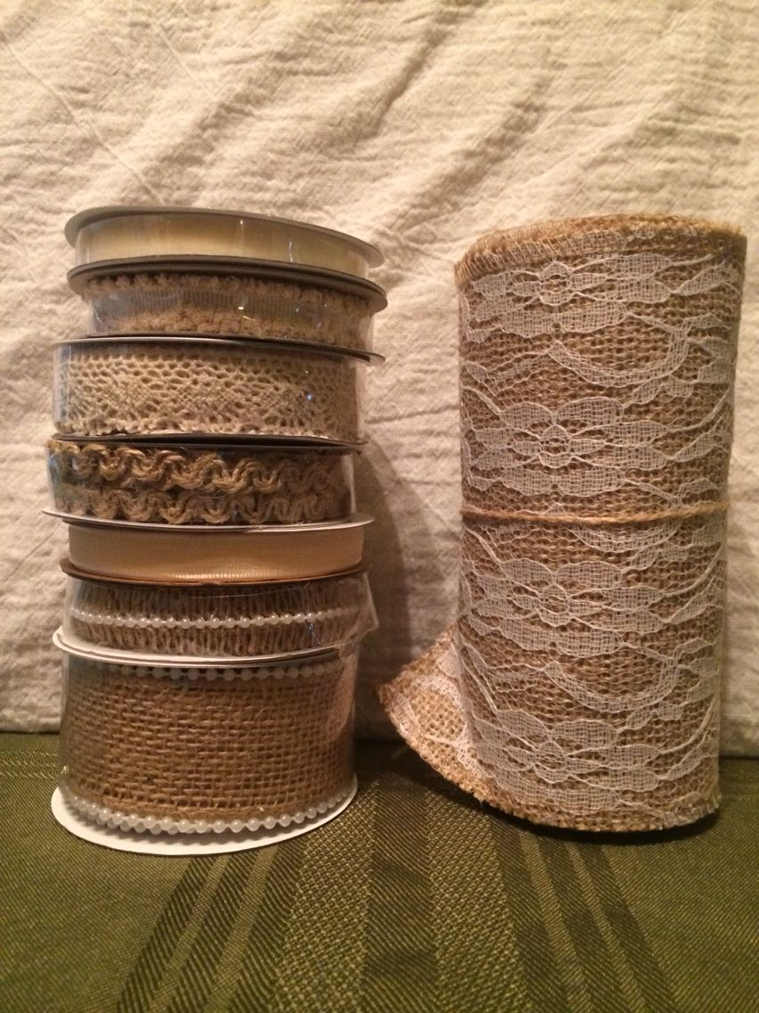 Some of the ribbon, burlap I bought.