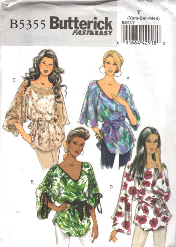 Butterick 5355 Misses Easy Sash and Pullover Top Pattern Womens ...
