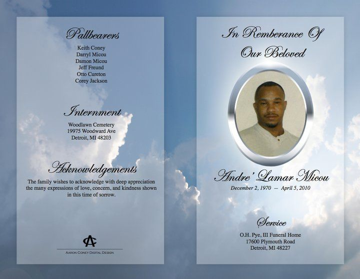 Downloadable Funeral Bulletin Covers Funeral Program (Outer - memorial pamphlet template free