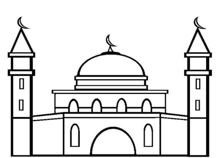 11 Contoh Mewarnai Gambar Masjid Sederhana Untuk Paud Tk Warna Gambar Halaman Mewarnai