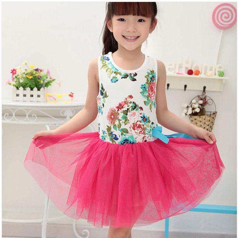 Gunstige Mode Sommer Baby Madchen Kleid Sleeveless Beilaufige Tutu Blume Billige Kleidung China Infantil Kinde Girl Outfits Tulle Party Dress Dresses Kids Girl