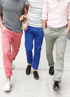 Colored pants pair well with neutral shirts. It doesn't all have to be