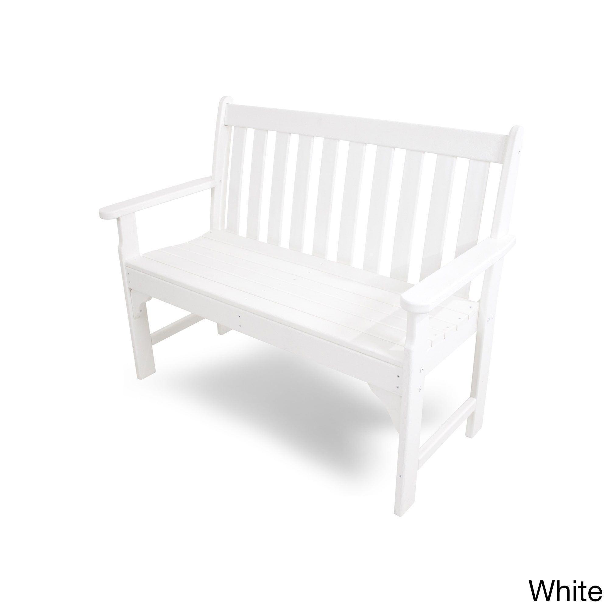 Polywood Vineyard 48inch Outdoor Bench (White), Patio