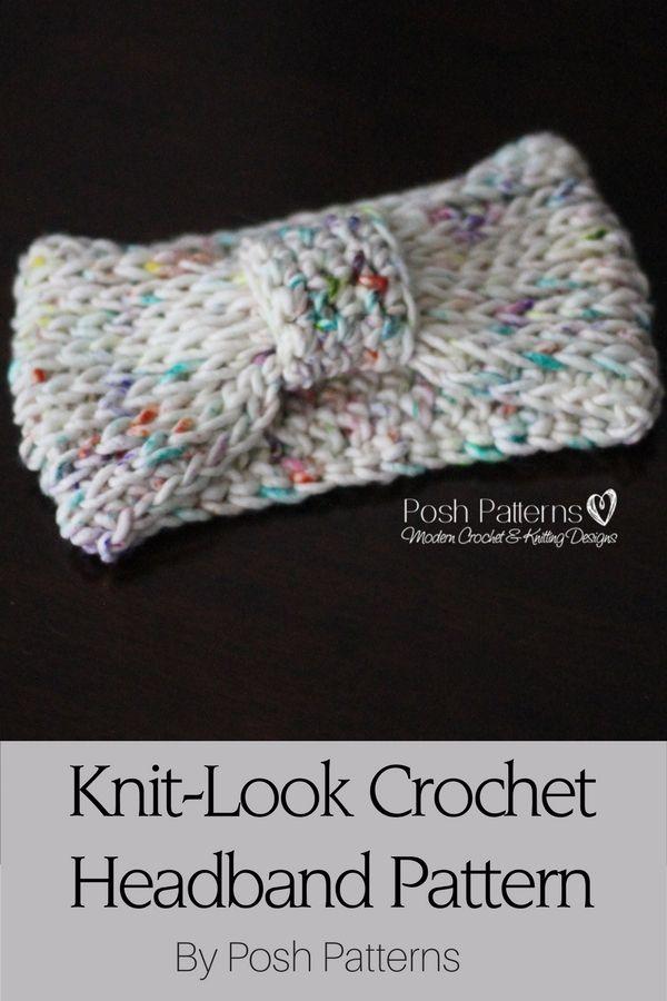 Free Crochet Pattern Knit Look Headband Stitch Design Free
