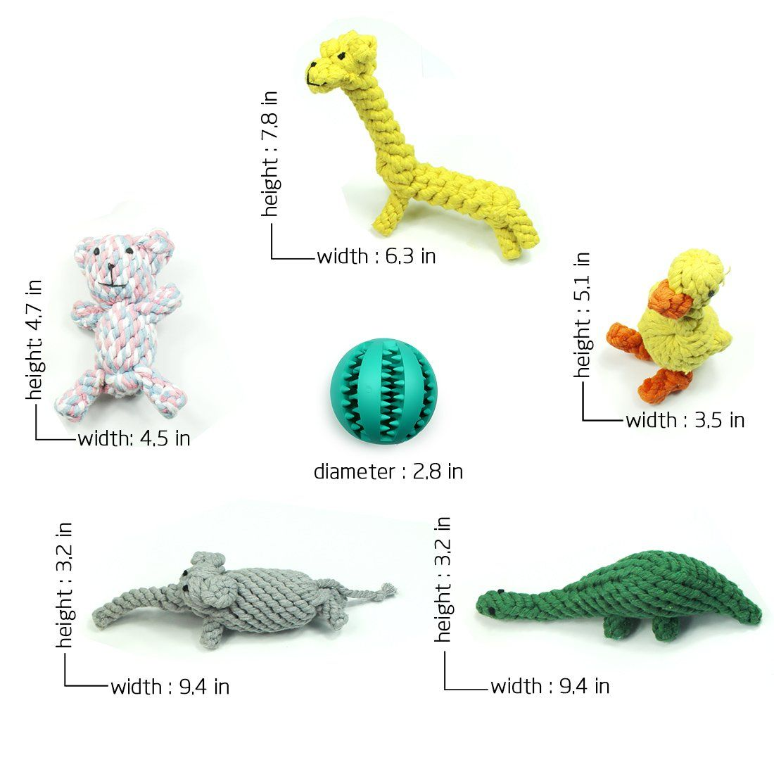 Achivy 6 Piece Animal Design Cotton Rope Dog Toys With