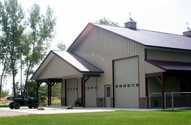 Great 50 x 60 residential metal building w porches 7 for Residential pole barn