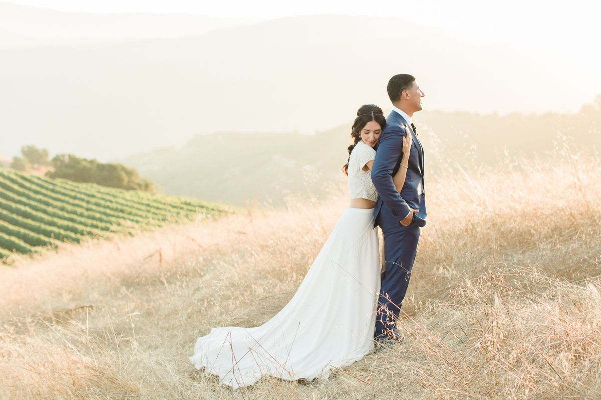 This two piece wedding dress is boho bridal goals jewel tone