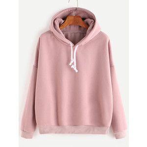 8eeefb000 Pink Hooded Drop Shoulder Sweatshirt