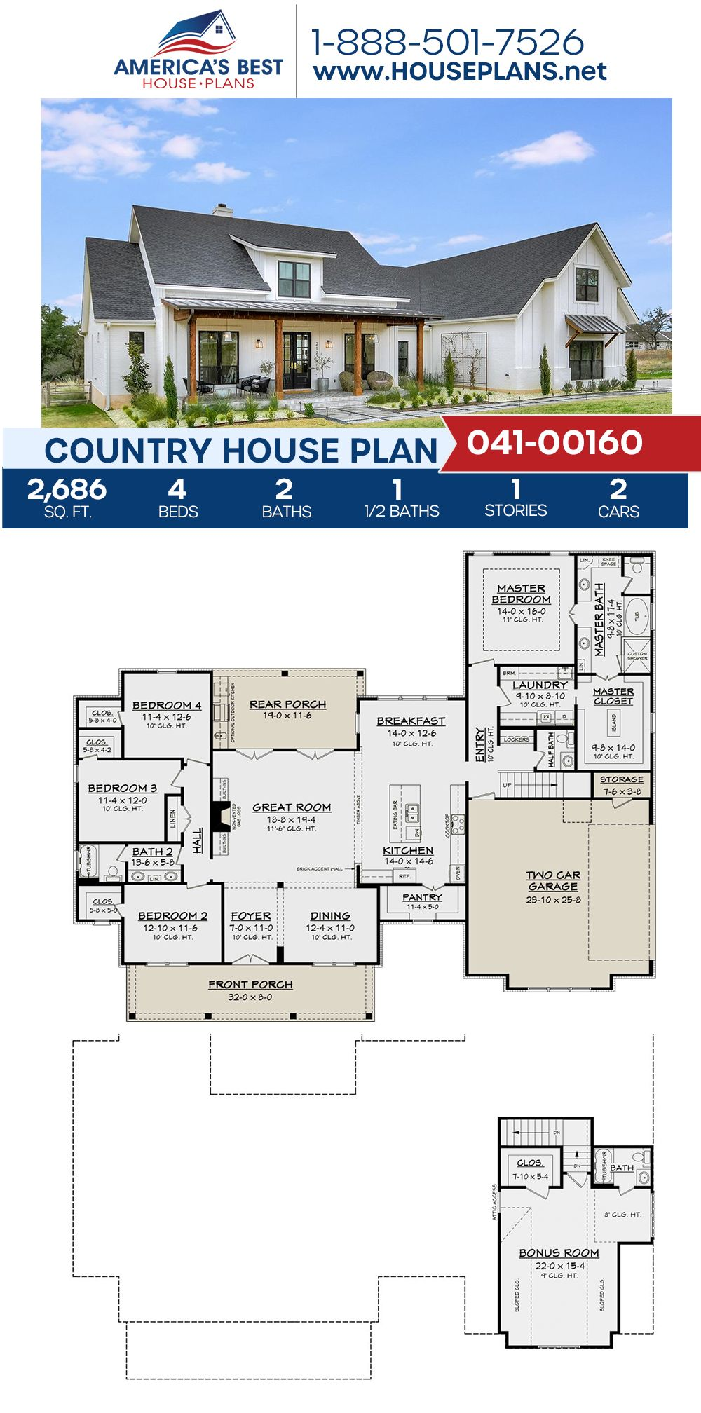 House Plan 041 00160 Country Plan 2 686 Square Feet 4 Bedrooms 2 5 Bathrooms Farmhouse Floor Plans Family House Plans Country House Plans
