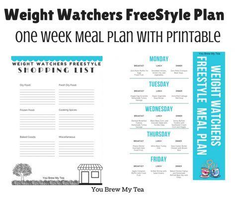 Weight Watchers Freestyle Plan One Week Menu Plan   Weight