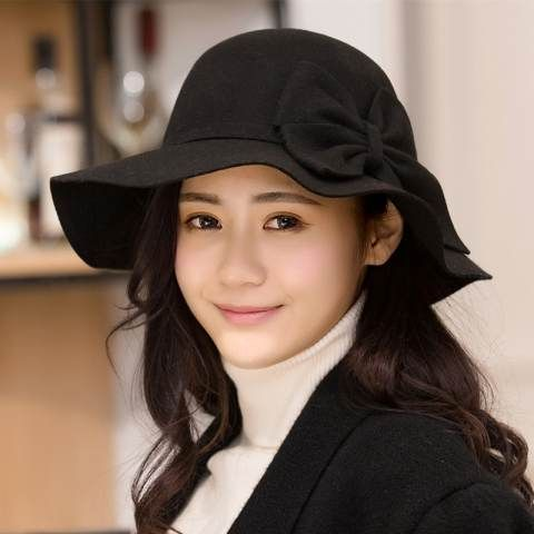 1cfe756b097 Flounced bow felt floppy hat for women fashion wool blend winter hats