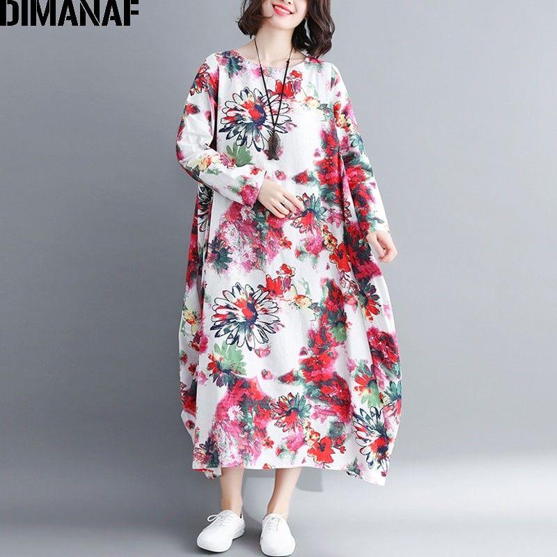 008b5720c15db DIMANAF Women Elegant Long Dresses Autumn Linen Vintage Print Floral ...
