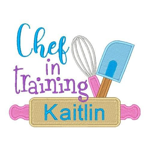 Chef In Training Machine Embroidery Design Word Art Kitchen