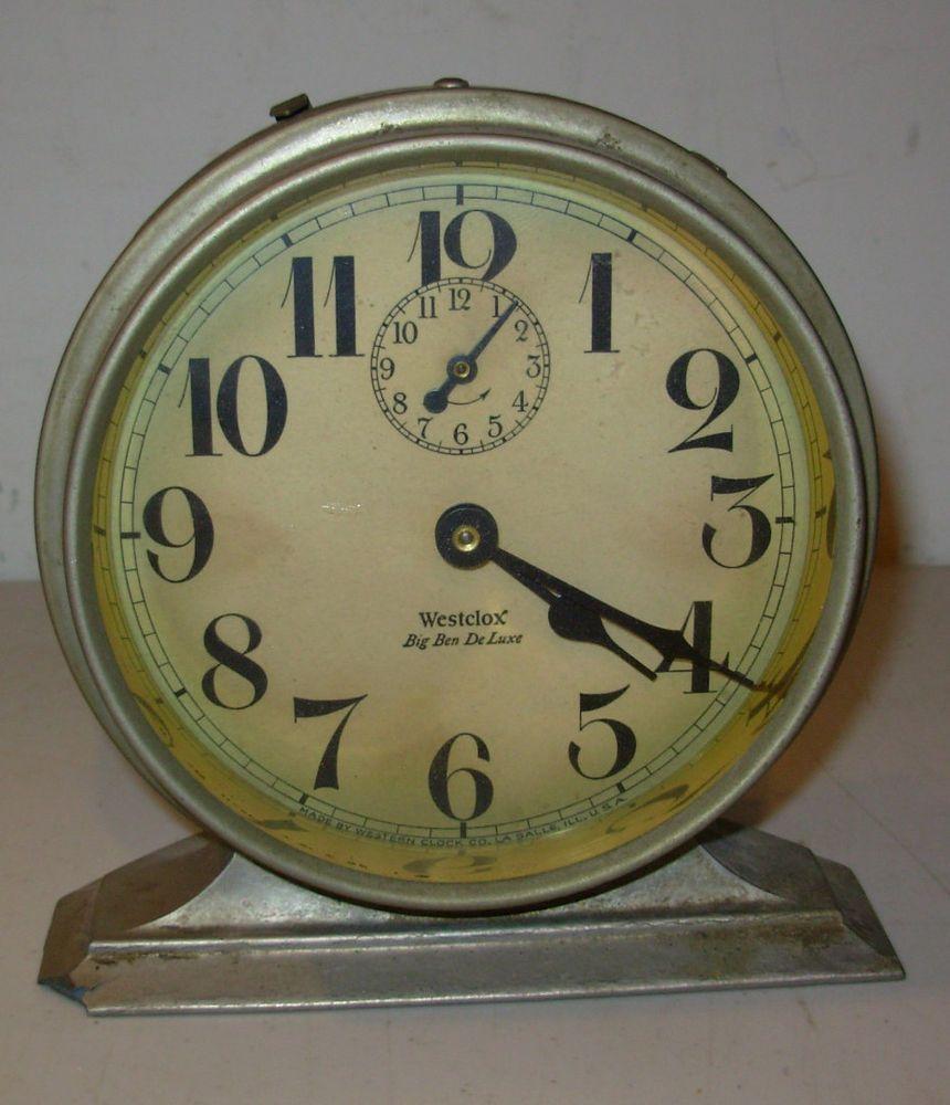 Antique 1927 westclox big ben deluxe alarm clock non working made antique 1927 westclox big ben deluxe alarm clock non working made in usa amipublicfo Images