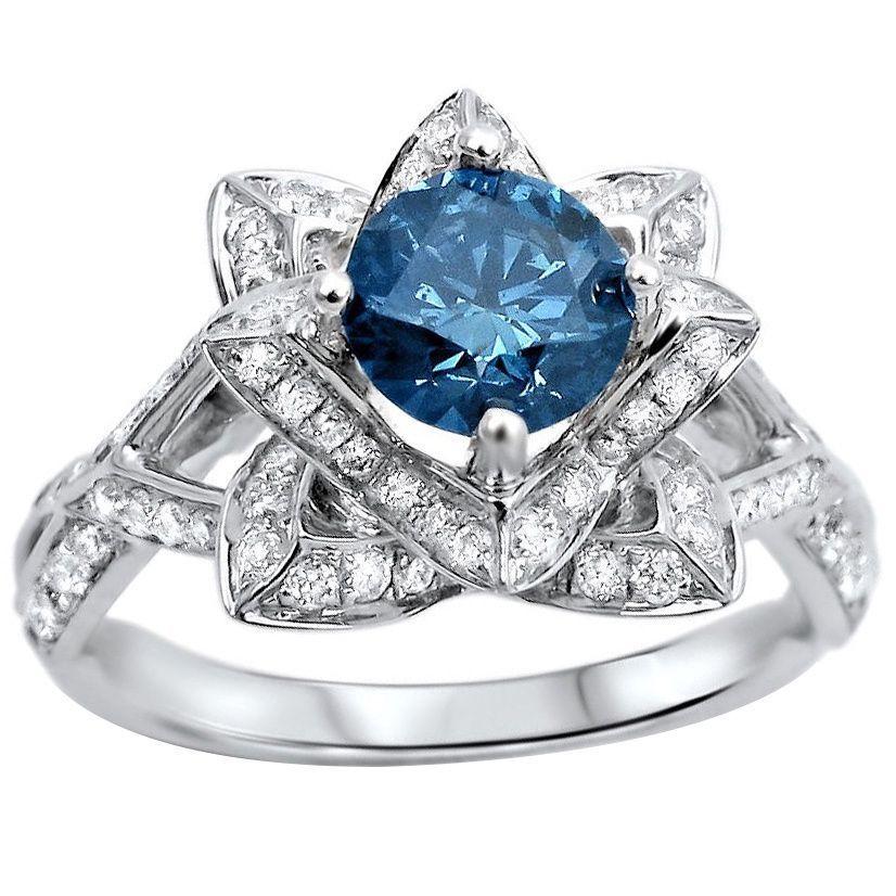 14k white gold 1 35ctw blue round diamond lotus flower