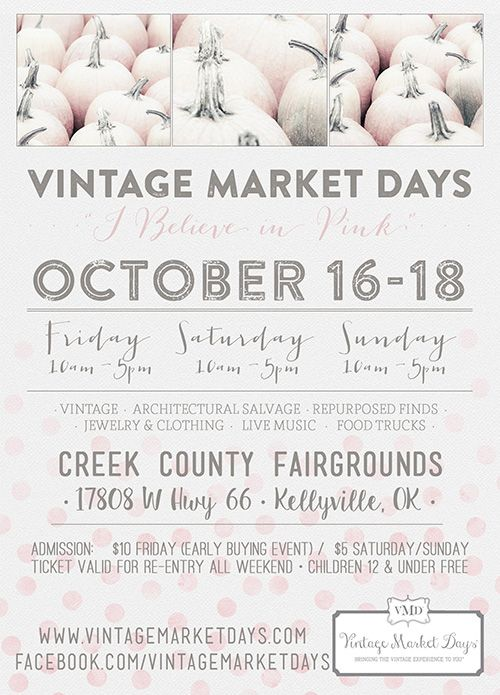 Vintage Market Days is an upscale vintage-inspired indoor/outdoor market featuring original art, antiques, clothing, jewelry, handmade treasures, home décor, outdoor furnishings, consumable yummies, seasonal plantings and a little more. The Market is a three day event held several times a year in varying communities throughout Oklahoma. Each Vintage Market Days event is a unique opportunity for vendors to display their talents and passions in different venues throughout Oklahoma.