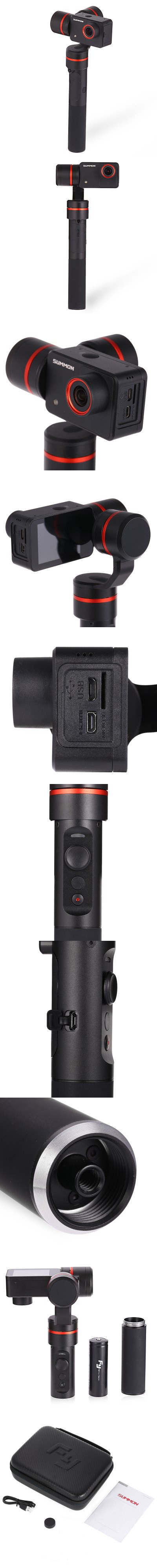 FEIYU SUMMON 3-axis Handheld Stabilizer 4K Action Camera 95 Degree FOV WiFi Connection