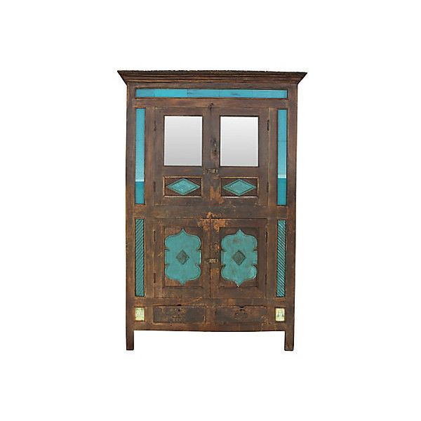 Pre-Owned 19th-C. Indian Aqua Armoire ($3,895) ❤ liked on Polyvore ...