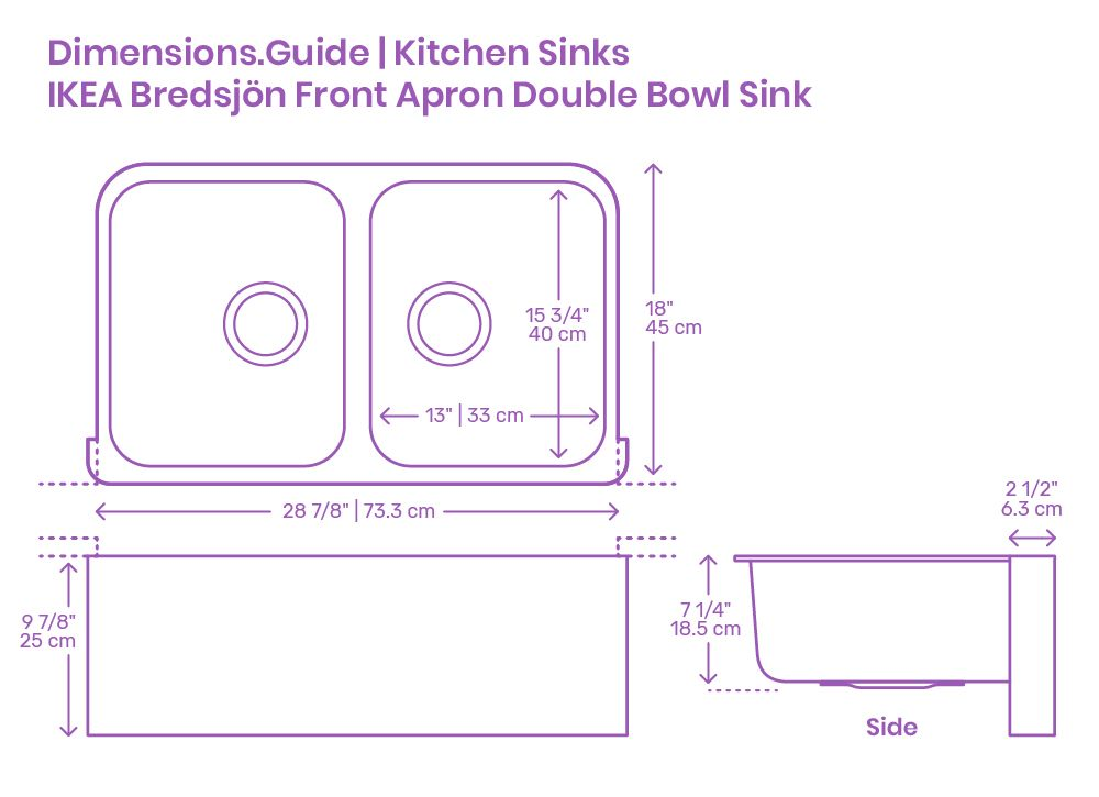 Ikea Bredsjon Front Apron Double Bowl Kitchen Sink In 2020 Double Bowl Kitchen Sink Kitchen Sink Apron Front Sink