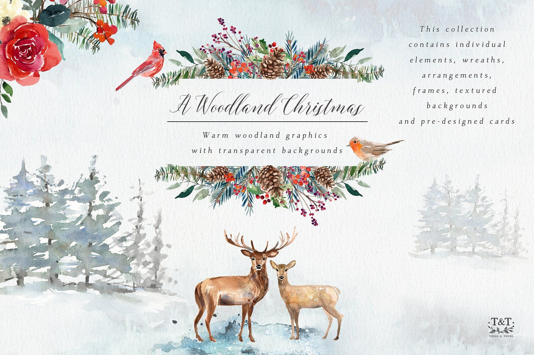 A Woodland Christmas Graphic Set by Twigs and Twine on ...