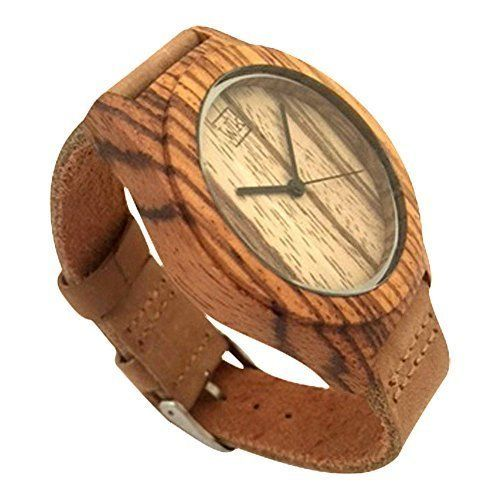 Zebrawood Wood Watch With Genuine Leather Strap. Case Size: 43 mm X 51 mm. Case Material: Zebrawood. Band Width: 20 mm. Band Material: Genuine Leather. Movement: Japanese Miyota Quartz.