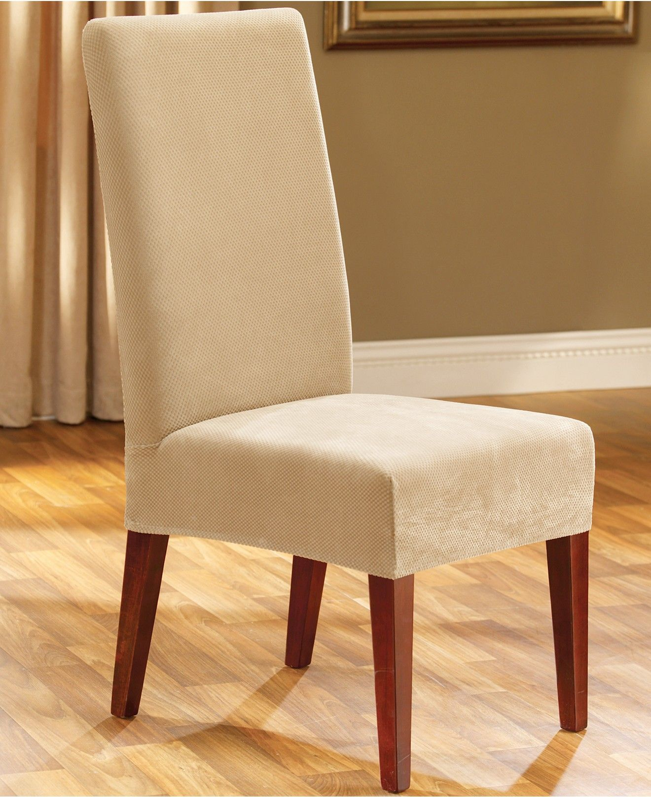 Stretch Pique Short Dining Room Chair Slipcover Dining
