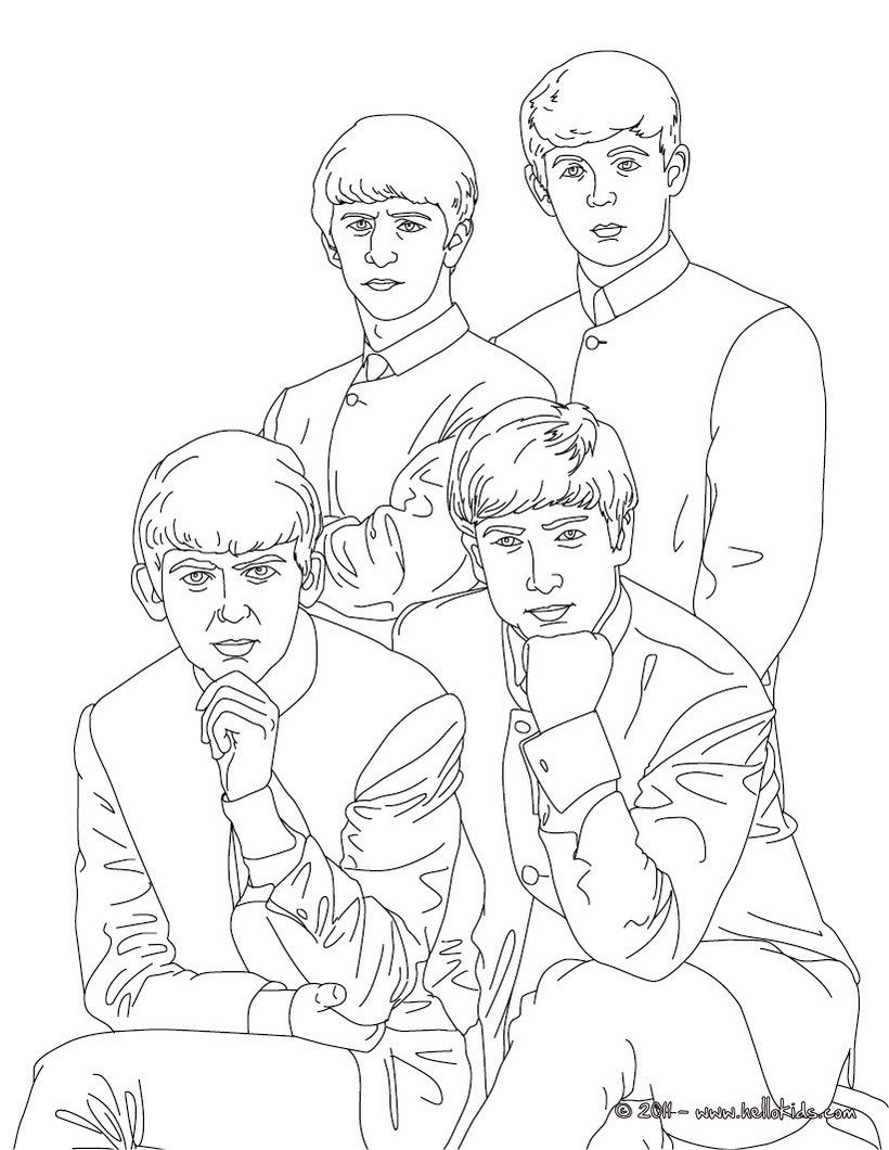 The Beatles coloring page. More famous people coloring sheets on ...