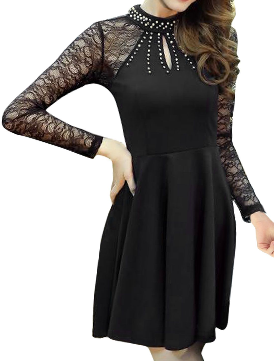 Allegra K Women's Beaded Cut Out Back Lace Fit and Flare Dress Black (Size S / 4)