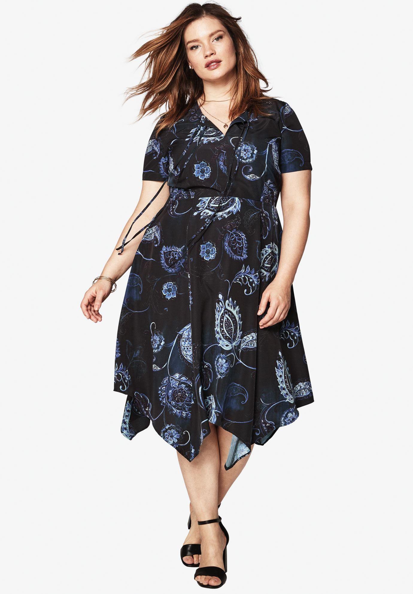 51b4c74a82b Plus Size High Low Tie Front Dress