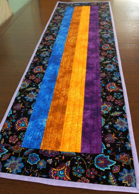 Quilted patchwork table runner, modern colourful table topper ...