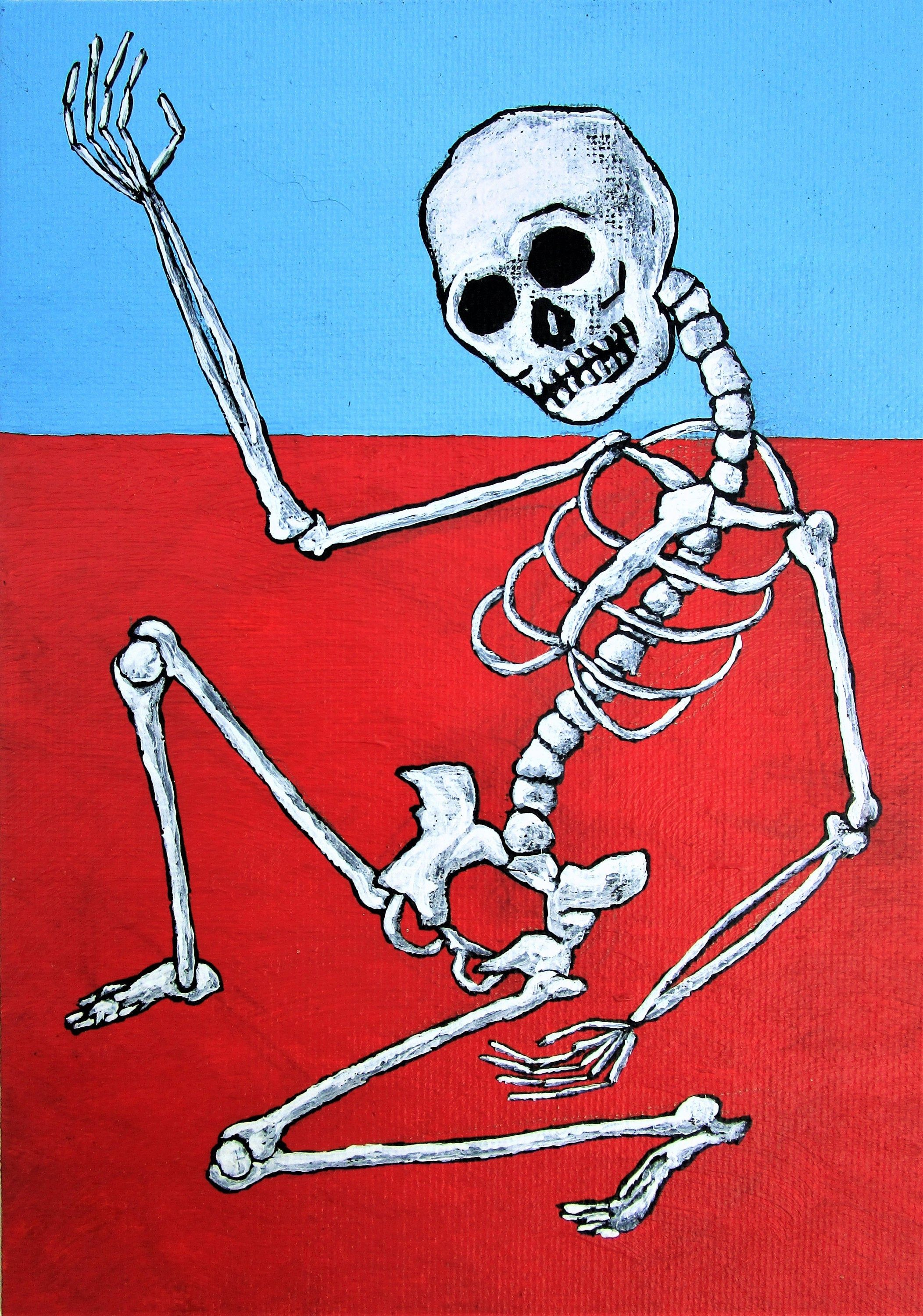 """Skeleton Dance (ORIGINAL ACRYLIC PAINTING) 5"""" x 7"""" by Mike"""