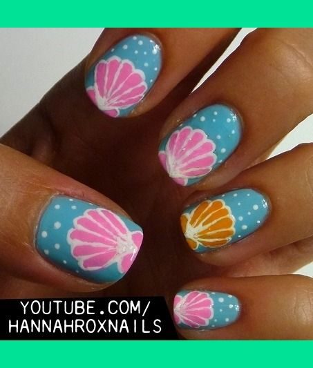 Best 25 Seashell Nails Ideas On Pinterest Beachy Nail Designs Mermaid Nail Art And Sea Nails