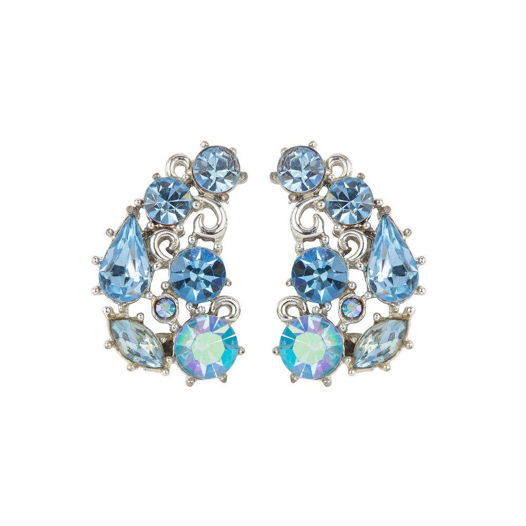 1950s Vintage Lisner Sky Blue Crystal Earrings